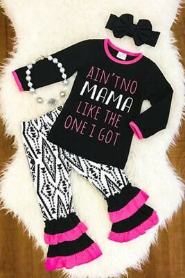 US Toddler Kids Baby Girl Letter Tops Ruffle Pants Leggings 3Pcs Outfits Clothes