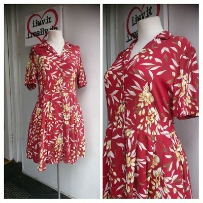 80s Vintage Brown Leaf Mini Dress Size 16
