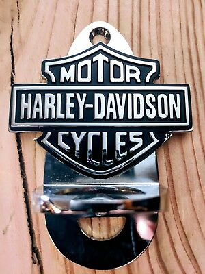 Harley davidson bottle opener in chrome with stainless steel chain
