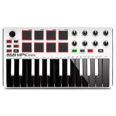 Akai MPK Mini MK2 WHITE 25-key MIDI USB Keyboard Pad Controller Music Production