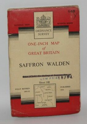 Ordnance Survey - One Inch Cloth Map - Saffron Walden - Sheet 148 - 1954