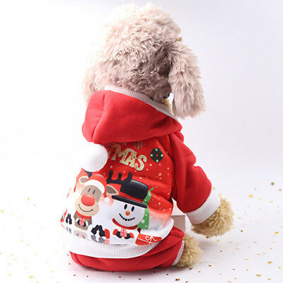 Winter Dog Christmas Clothes Pet Puppy Costumes Hoodie Cute for Xmas Gift S-XL