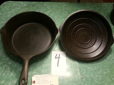 Wagner Ware Unmarked Large Cast Iron Chicken Fryer Skillet and Lid/ Heat Ring