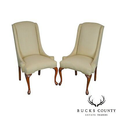 Traditional Pair of Queen Anne Upholstered Host Chairs Frames