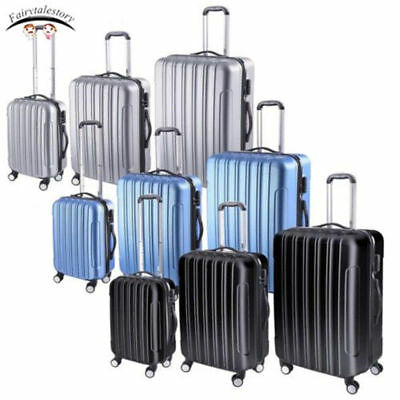 3 Piece Luggage Travel Set ABS Trolley Carry-On Rolling Spinner Wheels Suitcase