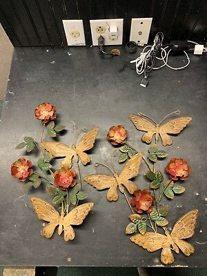 Metal Butterflies With Flowers Home Interior Decor Vintage