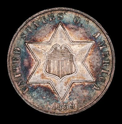 1859 3CS Three Cent Silver Trime - High Grade - Great Toning - Free Shipping !!