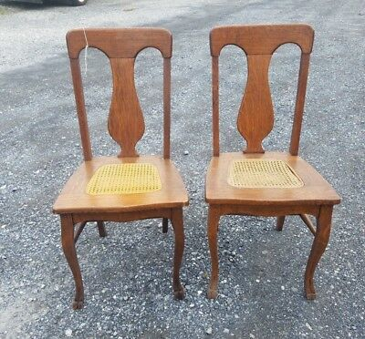 Pair of Vintage Antique Tiger Oak T Back Cane Wood Chairs Claw Foot Quarter Sawn