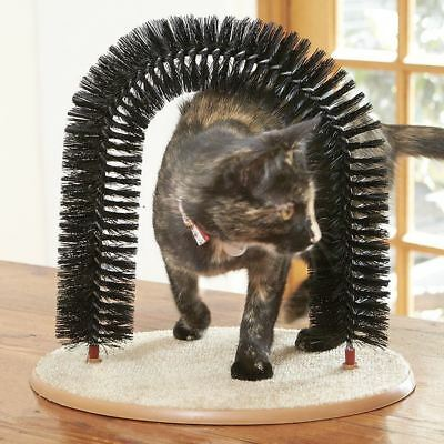 Cat Kitten Grooming Arch Massage Scratching Post Toy Brush Pet Self Groomer New