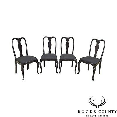 Black Lacquer Set of 4 Queen Anne Dining Chairs