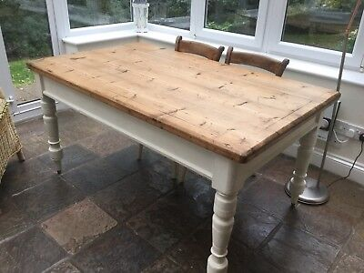 Antique Victorian Solid Pine Kitchen Table