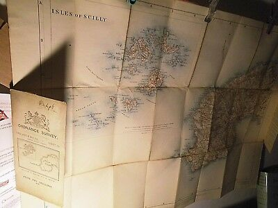 West Cornwall & Scilly Isles 1905-11:antique Ordnance Map Electrotyped On Linen