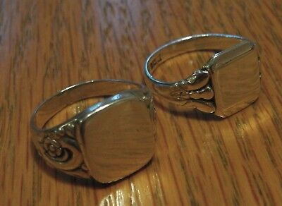 2 x Vintage Art Deco Style Silver Signet Rings