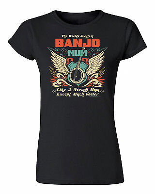 Womens T-Shirt Worlds Greatest BANJO Mum Musician Band Music Christmas
