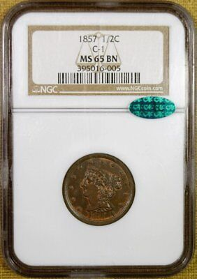 1857 NGC MS65 BN Half Cent - Better Date - CAC Stickered