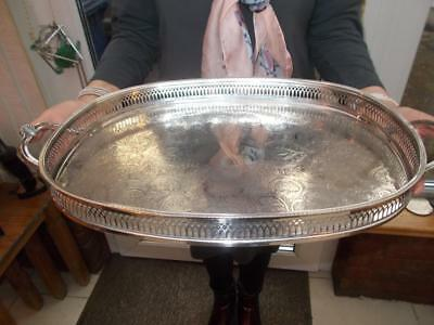 Large Silver Plated Tray Fret Cut Gallery Ornate Clam Shell Handles On Stud Feet