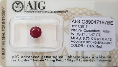 Rubino Naturale 1.47 ct - Certificato AIG Antwerp (head-office)