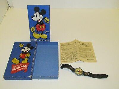 1935 Mickey Mouse Birthday Watch Ingersoll With Box Insert & Paperwork