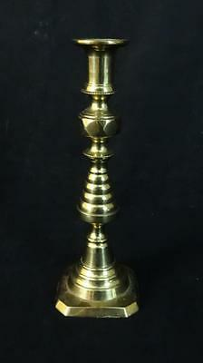 "Antique Victorian English Brass Candlestick Beehive Pattern 8-7/8"" Tall 1800's"