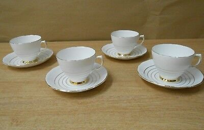 Royal Vale Bone China Cups and Saucers x4 Tableware Vintage Stripes