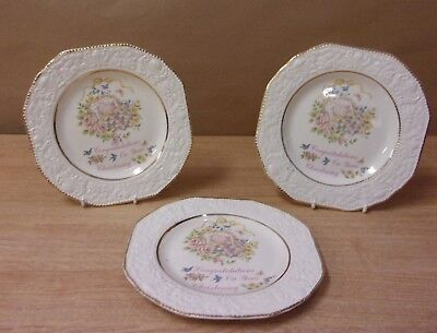 Congratulations on your Christening Plates x3 Prinknash Abbery Pottery Vintage