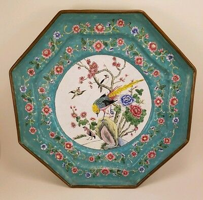 Fine Republic Period Chinese Famille Rose Canton Enamel Bird Large Plate Charger