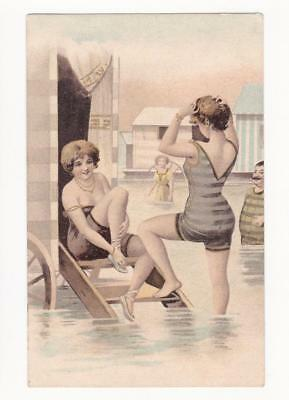 BATHING BEAUTIES in SWIMSUITS - Risque Erotic, 1900's U/B PC - Bathing Machines