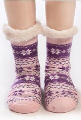 Ladies Flower Snuggle Toes Fur Lining Thermal Socks Thick Cosy Warm Winter Ski