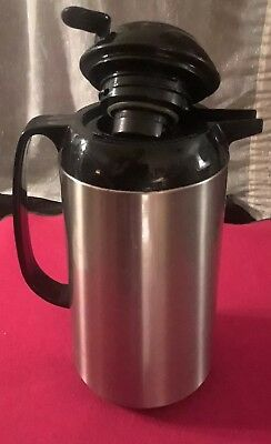"Excellent Condition 10"" Palm Restaurant Stainless Steel Thermal Coffee Carafe"