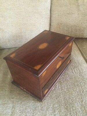 Antique  Inlaid Wood Smokers Compendium - Lockable with Key