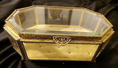 Vintage French Ormolu Eight Sided Beveled Glass Hinged Jewelry Casket