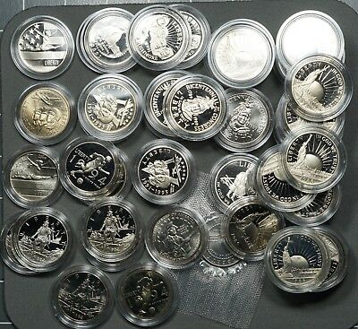 Huge Lot of (63) Commemorative Half Dollars, Proof & BU, All Clad in Capsules