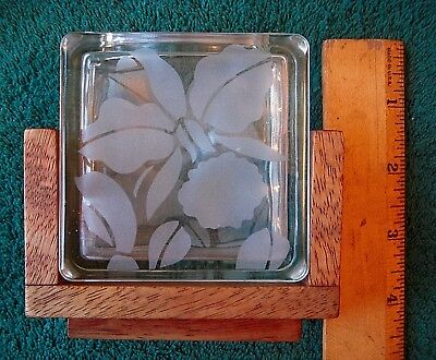 Vintage Hawaiian  Deco Art Etched Orchid Vase With Teak Holder  By Frank Oda