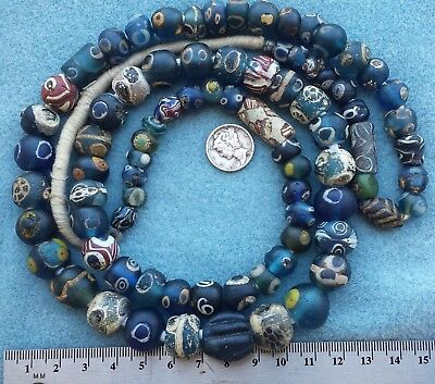 Strand of African Trade Beads Ancient Roman Eye Folded Islamic Glass Beads Mali