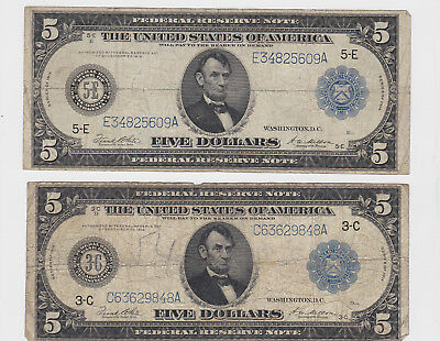 (2) 1914 $5 Large Federal Reserve Currency Notes Philadelphia Richmond No Res.