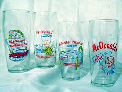 Set Of 4 1985 Vintage Mcdonald'S Drinking Glasses Golden Arches & Other Logo
