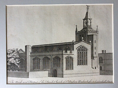 c1756, Parish Church St Andrews Leadenhall Street, London, John Stow, B. Cole
