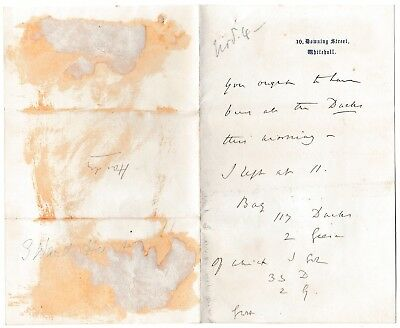 George Ward Hunt -Disraeli's Chancellor -initialled letter got 33 ducks, 2 geese
