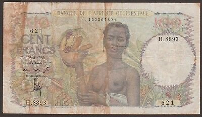 French West Africa P-40 / B124a  26-4-1950  100 Francs   NO RESERVE  621