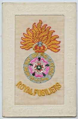 C.1916 Ww1 Silk Npu French Embroidered Postcard Royal Fusiliers Good Cond. S65