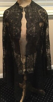 Antique Edwardian Chantille Lace Long SHAWL US Paypal Only Free Ship NR