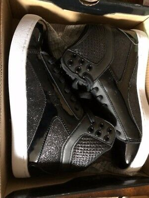 Pastry Black Pop Tart Glitter High-Top HipHop Dance Sneakers - women's sz 6 shoe