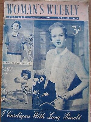 Vintage Woman's Weekly magazine/2276/June 18 1955/knit patterns/recipes/stories