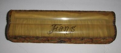 Early 20th Century Celluloid (?) and Velveteen Hand Fan Dresser Box