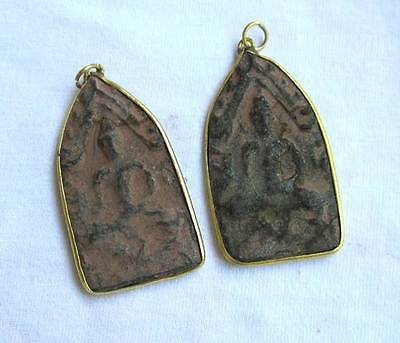 Free Ship 2 Pcs 2 Sides Thai Buddha Amulet Pendant Gold Shade Around Rich Wealth