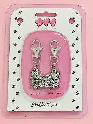 Shih Tzu-2 Piece Clip On Charm For Pets And People-Collars Leashes Bags Keychain