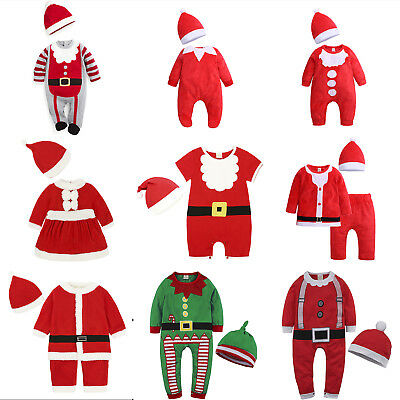 Santa Claus Costume Kids Baby Boys Girls Christmas Fancy Dress Romper Hat Outfit