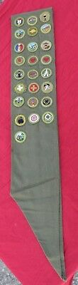 Vintage BSA Boy Scout Merit Badge Sash With 25 Merit Badges Patches