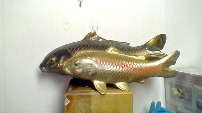 Two Vintage Made In Japan Koi Fish Heavy White Metal Painted Brass Figures