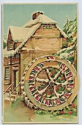 1908 Litho Mechanical Litho Novelty Kaleidoscopic Postcard Water Wheel Alpha S71